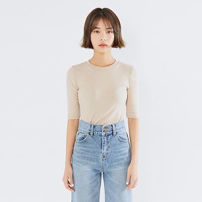 mossbean-修身纯色五分袖T恤