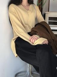 2018新款韩国服装mossbean品牌休闲舒适宽松纯色针织衫(2018.1月)