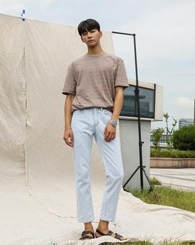 1区韩国本土服装代购(韩国圆通直发)时尚简约条纹T恤(2018-07-13上架)