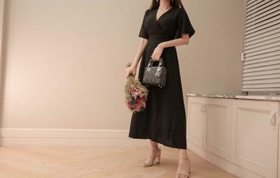 mybany-女性V领纯色个性连衣裙