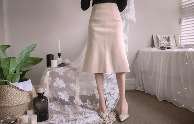 mybany-A字形时尚纯色长裙