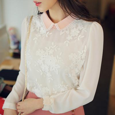 fiona-甜美配色翻领蕾丝花纹衬衫