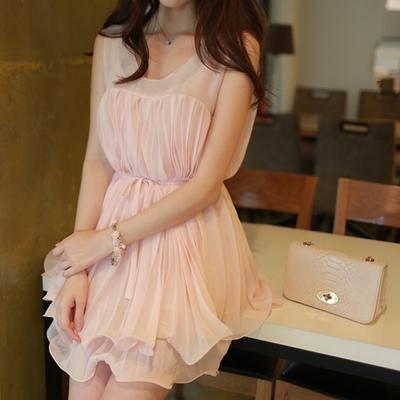 1区韩国代购正品验证fiona-fnop00730729-清纯可爱压褶双层裙摆无袖连
