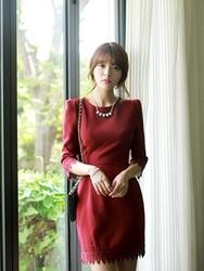 1区韩国代购正品验证fiona-FNOP00766048-淑女风蕾丝花边修身连衣裙