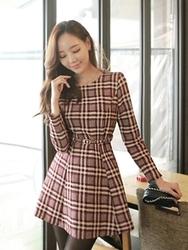 1区韩国代购正品验证fiona-FNOP00783693-淑女风千鸟格修身连衣裙(腰带set)