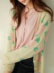 1区韩国代购正品验证fiona-FNCA00784450-淑女风花纹甜美开襟衫