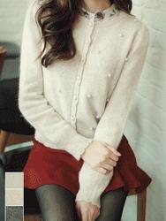 1区韩国代购正品验证fiona-FNCA00784451-韩版浪漫针织装饰开襟衫