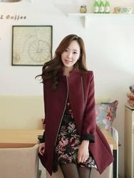 1区韩国代购正品验证fiona-FNJK00785140-淑女风修身拉链纯色夹克