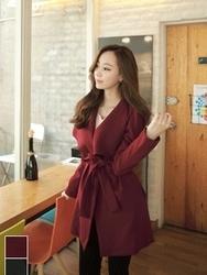 1区韩国代购正品验证fiona-FNJK00784435-高档纯色系带淑女风夹克