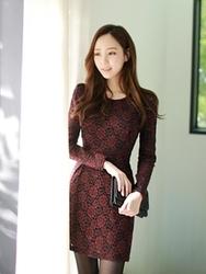 1区韩国代购正品验证fiona-FNOP00784432-韩版优雅花纹蕾丝连衣裙