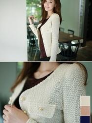 1区韩国代购正品验证fiona-FNJK00784441-淑女风金丝混合针织夹克