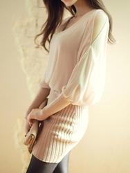 1区韩国代购正品验证fiona-FNOP00784430-韩版魅力雪纺针织混合连衣裙
