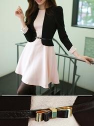 1区韩国代购正品验证fiona-FNOP00784433-淑女风配色端庄修身连衣裙