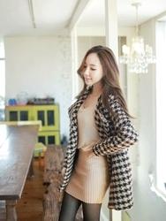 1区韩国代购正品验证fiona-FNCT00784434-淑女风千鸟格高档毛呢大衣