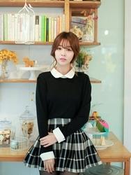 1区韩国代购正品验证fiona-FNKN00784439-韩版配色娃娃领甜美针织衫