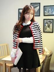 1区韩国代购正品验证fiona-FNCA00831514-可爱条纹配色针织装饰开襟衫