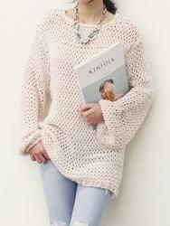 1区韩国代购正品验证naning9-NGKN00848779-韩版魅力宽松穿孔针织衫