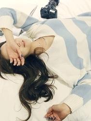 1区韩国代购正品验证naning9-NGKN00849434-休闲粗横条纹人气V领针织衫
