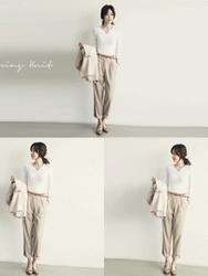 1区韩国代购正品验证naning9-NGKN00849438-韩国新款半开领修身针织衫