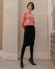 1区2017冬季新款韩国服装nuissue品牌修身纯色舒适中裙(2017.11月)