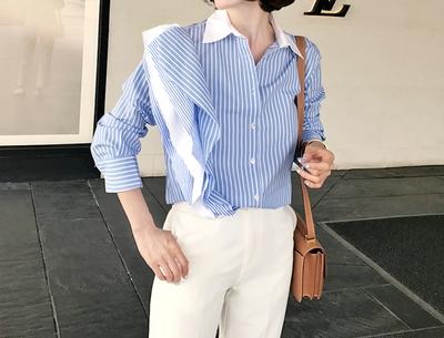 pinkboll-时尚韩版伊莎贝尔荷叶边衬衫