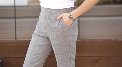 1区韩国本土服装代购(韩国圆通直发)pippin-韩版格纹时尚长裤(2018-04-24上架)