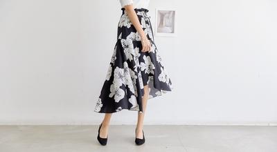 1区韩国本土服装代购(韩国圆通直发)pippin-花色优雅新款中裙(本商品非新品请联系客服核对再下单-27上架)