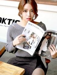 1区韩国代购正品验证planj-PJKN00849390-性感背部交叉宽松针织衫