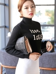 1区韩国代购正品验证planj-PJKN00849371-独特字母印染高领针织衫