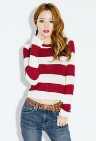 1区韩国服装网店代理一件代发planj-PJKN00942652-可爱粗横条纹短款针织衫