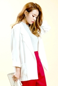 1区韩国服装网店代理一件代发planj-PJJK00946338-韩版宽松纯色休闲西装夹克
