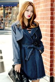 1区韩国服装网店代理一件代发planj-PJJK00946335-淑女风新款系带牛仔夹克