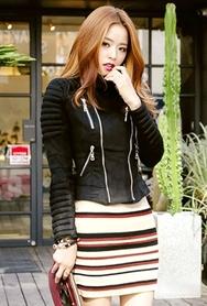 1区韩国代购|网店代理女装planj-PJJK00949695-2015秋季新款高龄收腰个性夹克