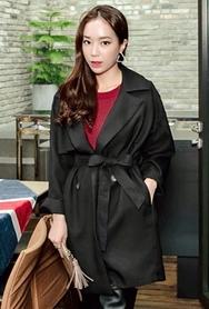 1区韩国代购|网店代理女装planj-PJJK00949609-OL 气质百搭时尚风衣夹克