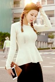 1区韩国代购|网店代理女装planj-PJKN00949325-2015秋季百搭荷叶边针织衫