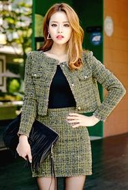 1区韩国代购|网店代理女装planj-PJJK00956161-时尚淑女短款修身夹克