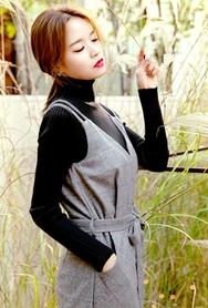 1区韩国代购|网店代理女装planj-PJKN00960606-秋季修身淑女条纹针织衫