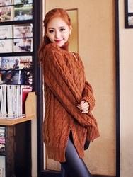 1区韩国代购正品验证qnigirls-QNKN00831433-可爱麻花纹高领针织衫