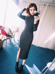 1区韩国代购正品验证qnigirls-QNOP00849330-性感肩部漏洞修身长款连衣裙
