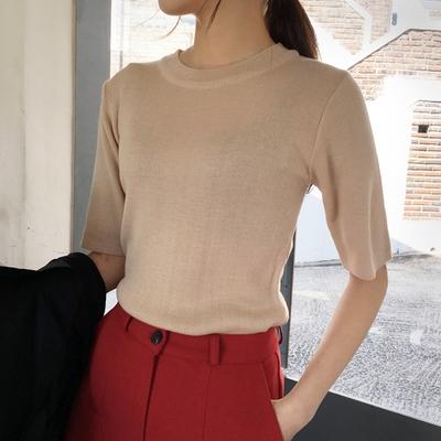 qnigirls-纯色韩版个性流行针织衫