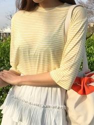 1区2017夏装新款韩国官网正品服装|正宗韩国代购韩国发货|qnigirls官网韩国条纹设计半袖魅力T恤(2017.5月)