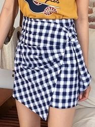 qnigirls-韩国格纹设计个性女性韩国代购正品短裙女装2017年06月20日06月款