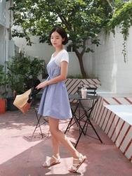 qnigirls-韩国可爱格纹设计搭配休闲套装女装2017年07月26日夏季款