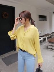 qnigirls-韩国纯色新款女性魅力韩国代购正品衬衫女装2017年08月01日08月款