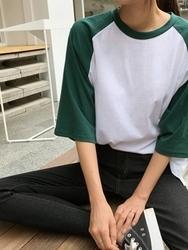 qnigirls-韩国拼色魅力个性半袖韩国代购T恤女装2017年08月01日08月款