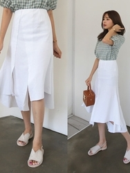 qnigirls-韩国韩版荷叶边纯色韩国代购长裙女装2017年07月31日夏季款