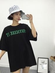 qnigirls-韩国字母设计韩版休闲韩国代购T恤女装2017年08月02日08月款