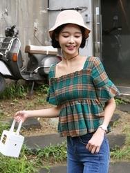 qnigirls-韩国格纹设计方领半袖韩国代购正品衬衫女装2017年08月02日08月款