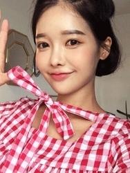 qnigirls-韩国格纹设计宽松可爱韩国代购正品连衣裙女装2017年08月02日08月款