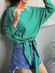 qnigirls-韩国条纹系带时尚魅力韩国代购T恤女装2017年08月07日08月款